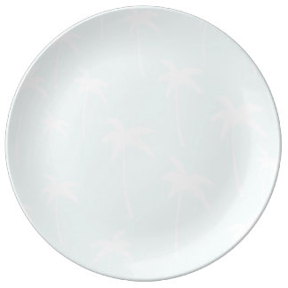blue and White Palm Trees Dinner Plate