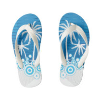 Blue and White Palm Trees - Kid's Flip Flops