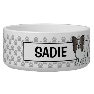 Blue And White Papillon Cartoon Dog Bowl