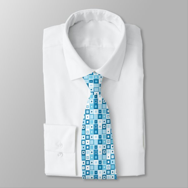 Blue and White patchwork of geometric shapes Neck Tie