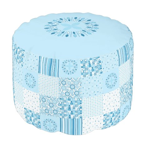 Blue and White Patchwork Ottoman