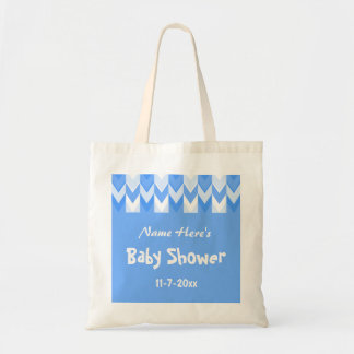Blue and White Pattern Blue Chevron Baby Shower Canvas Bags