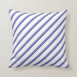 [ Thumbnail: Blue and White Pattern of Stripes Throw Pillow ]