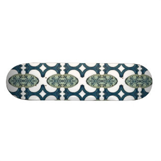 Blue And White Pattern Skateboard Deck