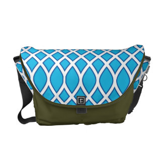 Blue and White Patterned Handbag Courier Bags