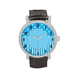Blue and White Patterned Watch