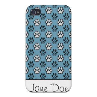 Blue and White Paw Print iPhone 4/4S Case