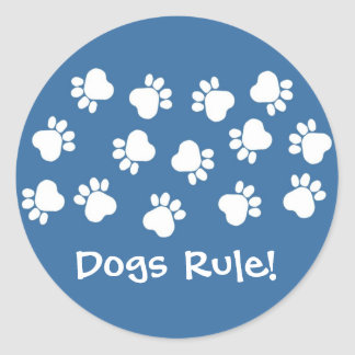 Blue and White Paw Prints Classic Round Sticker