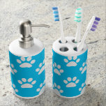 Blue and white paws pattern bathroom set