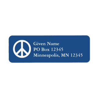 Blue and White Peace Symbol Label