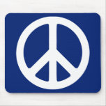 Blue and White Peace Symbol Mouse Pad