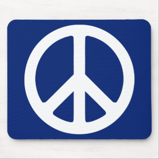 Blue and White Peace Symbol Mousepads