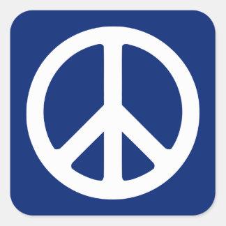 Blue and White Peace Symbol Square Sticker