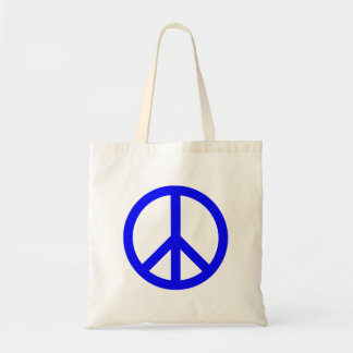 Blue and White Peace Symbol Tote Bag