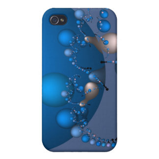 Blue and white pearl fractal iPhone 4 cover