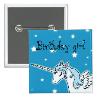 Blue and white Pegasus Unicorn Birthday girl Button