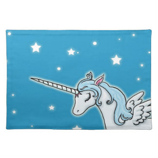 Blue and white Pegasus Unicorn Cloth Placemat