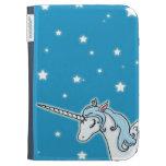 Blue and white Pegasus Unicorn Kindle Folio Cases