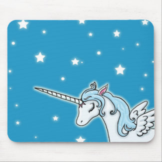 Blue and white Pegasus Unicorn Mouse Pad