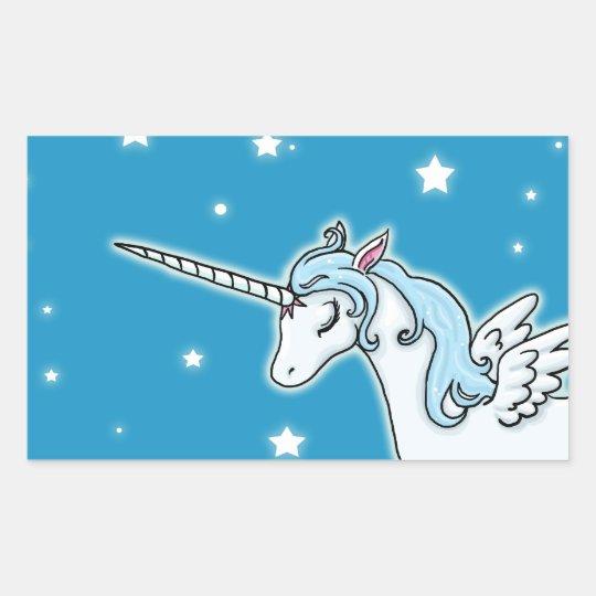 Blue and white Pegasus Unicorn Rectangular Sticker