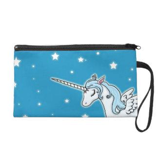 Blue and white Pegasus Unicorn Wristlet Purse