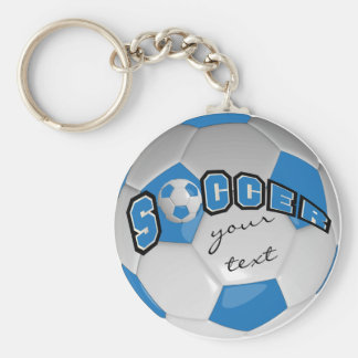 Blue and White Personalize Soccer Ball Keychain