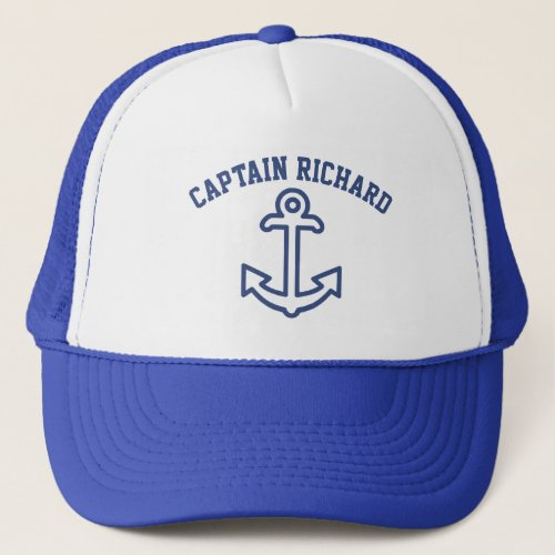 Blue and White Personalized Boat Anchor Cap
