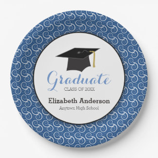 Blue and White, Personalized Graduation Paper Plate