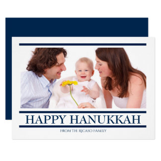 Blue and White Personalized Happy Hanukkah Card