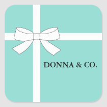 Blue and White Personalized Party Square Stickers