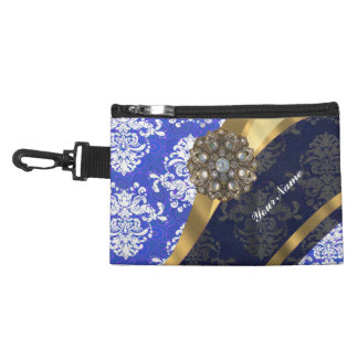 Blue and white personalized pretty damask pattern accessory bag