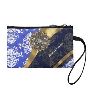 Blue and white personalized pretty damask pattern change purse