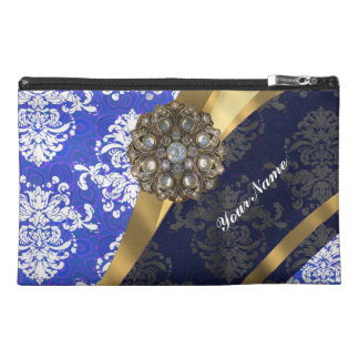 Blue and white personalized pretty damask pattern travel accessory bag