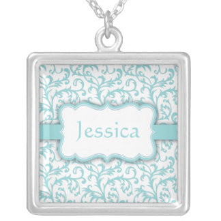 Blue and White Personalzed Damask Necklace