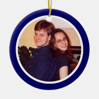 Blue and White Photo Frame - One Sided Ceramic Ornament