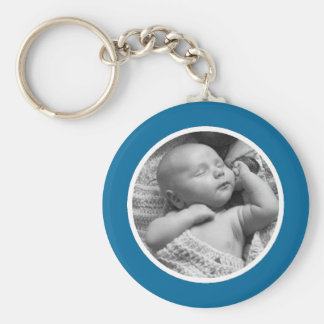 Blue and White Photo Keychain