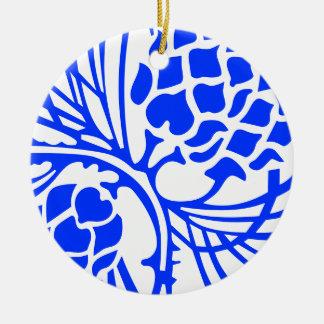 Blue and White Pine Cone Ornament