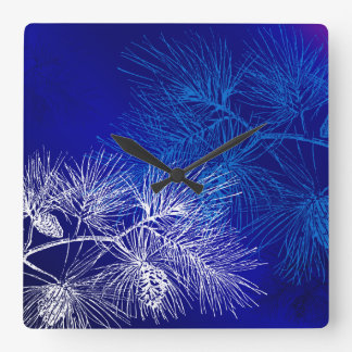 Blue and White Pine Pattern Wall Clock