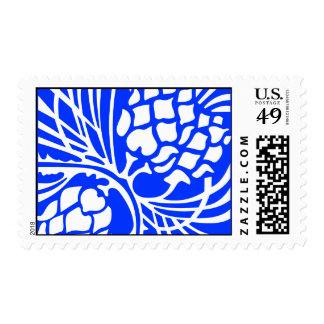 Blue and White Pinecone Postage