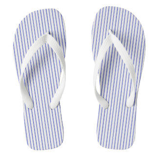 Blue and White Pinstripe Flip Flops