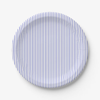 Blue and White Pinstripe Paper Plates