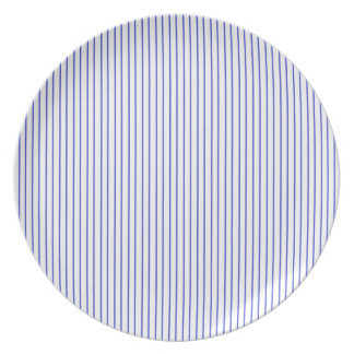 Blue and White Pinstripe Plate