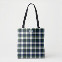 Blue and White Plaid Gordon Tartan Monogram Tote Bag