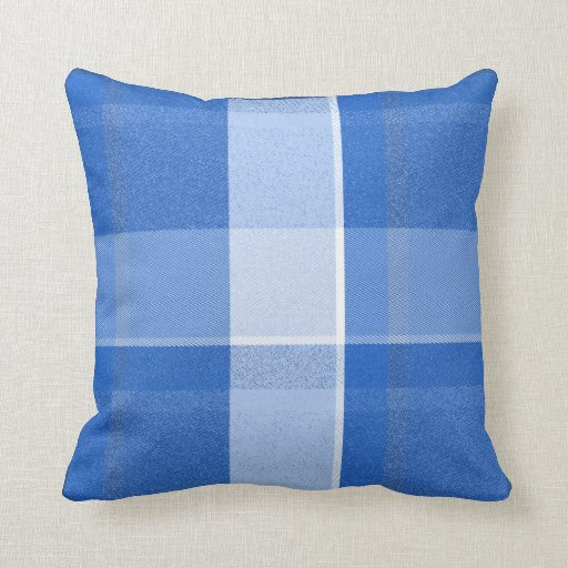 blue and white plaid throw pillow zazzle. Black Bedroom Furniture Sets. Home Design Ideas