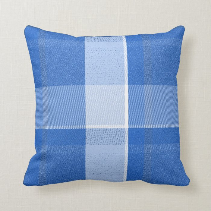 Blue White Throw Pillow : Blue and White Plaid Throw Pillow Zazzle