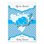 Blue and White Plaid with a Baby Elephant 3.5x5 Paper Invitation Card