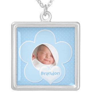 Blue and white Polka Dot Baby Photo Necklace