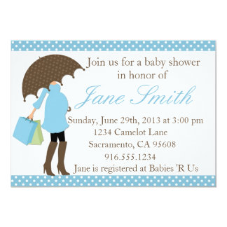 Blue and White Polka Dot Baby Shower Invitation