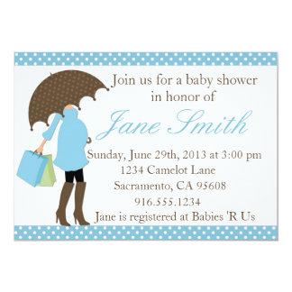 Blue and White Polka Dot Baby Shower Invitation