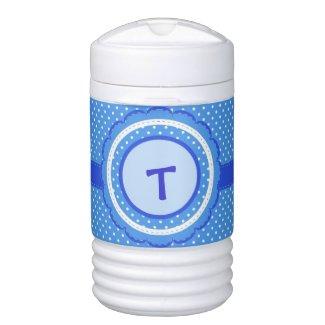 Blue and White Polka Dot Beverage Cooler